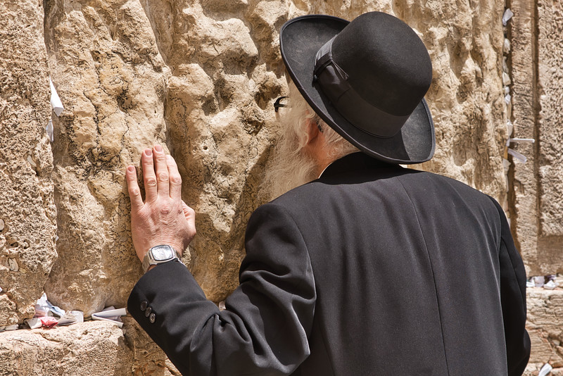 Old Man Praying at the Wailing Wall