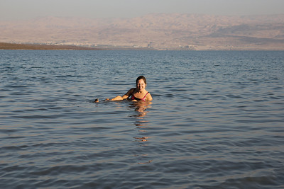 Dead Sea - The lowest point on planet earth!  1,300 feet below sea level and sinking lower.  The water is so salty nothing can live in it.
