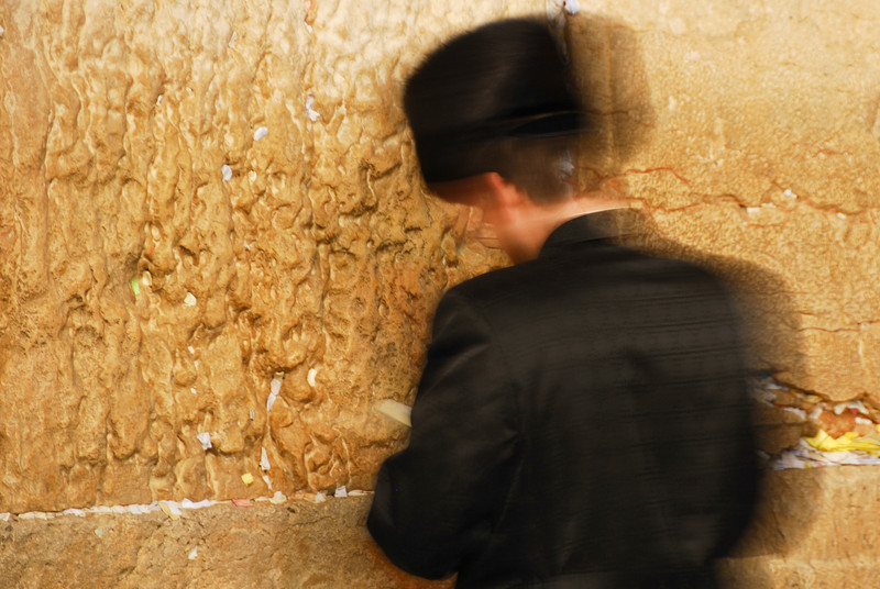 Traditional Hassidic Man Praying at the Western Wall