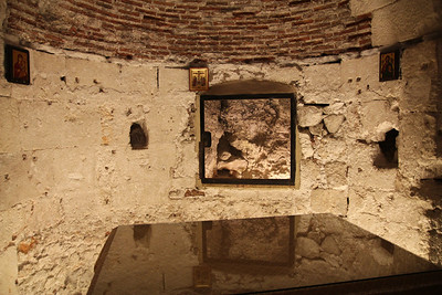 Golgotha - This is just below where a big crack is shown that appeared the moment of Jesus' death.
