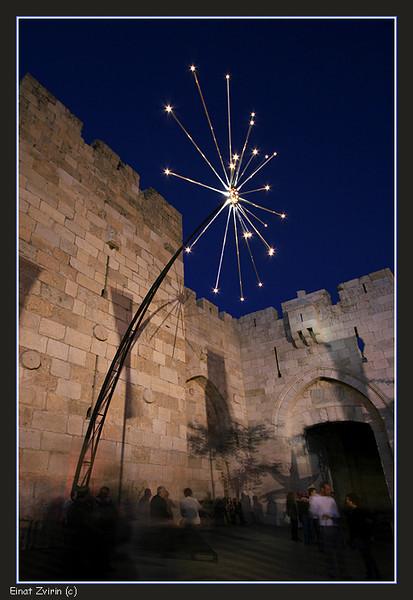 Artificial Fireworks, Jaffa Gate<br /> Jerusalem Light Festival