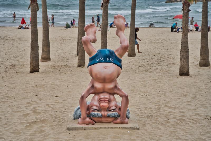 On the Beach in Tel Aviv - Whimsical Statue of David Ben-Gurion
