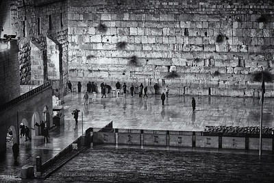 Rainy Wall  Western Wall, Old City, Jerusalem, Israel.