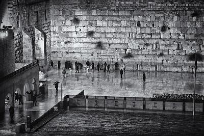 Rainy Wall  Western Wall, Old City, Jerusalem, Israel.