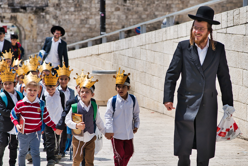 Young Hascidic Man with School Children
