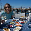 Lunch on the waterside with lost of tasty starters and local wine