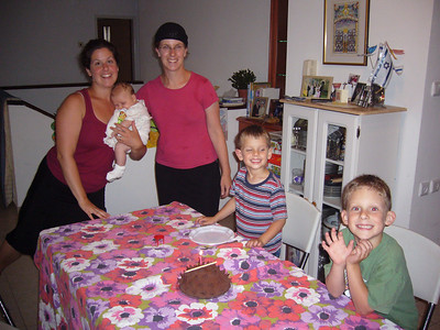 Tammy, Shira, Elisa, Adam & Benjamin having cake for Aunt Tammy's 30th birthday