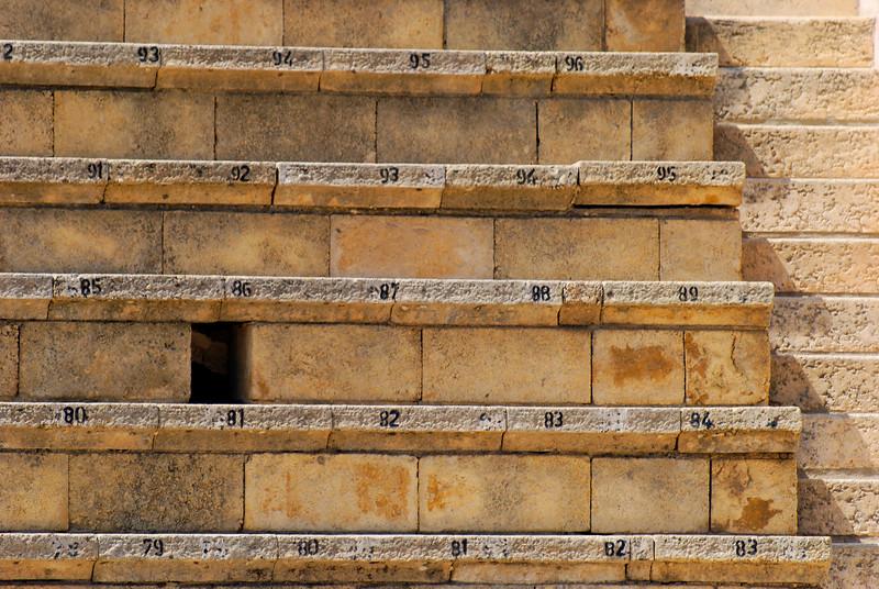 Teatro Romano - pormenor das bancadas<br /> Caesarea National Park - Haifa - Israel