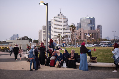 Group of women enjoying the Sunday afternoon on the seafront, Tel Aviv.