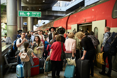 Taking the train from the Ben Gurion airport to Tel Aviv.
