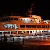 Ferry moored at the Kadıköy boatstation at night..