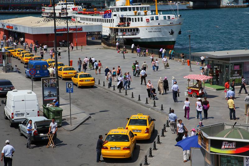 Eminönü, the ferry terminal seen from top of the the pedestrian bridge