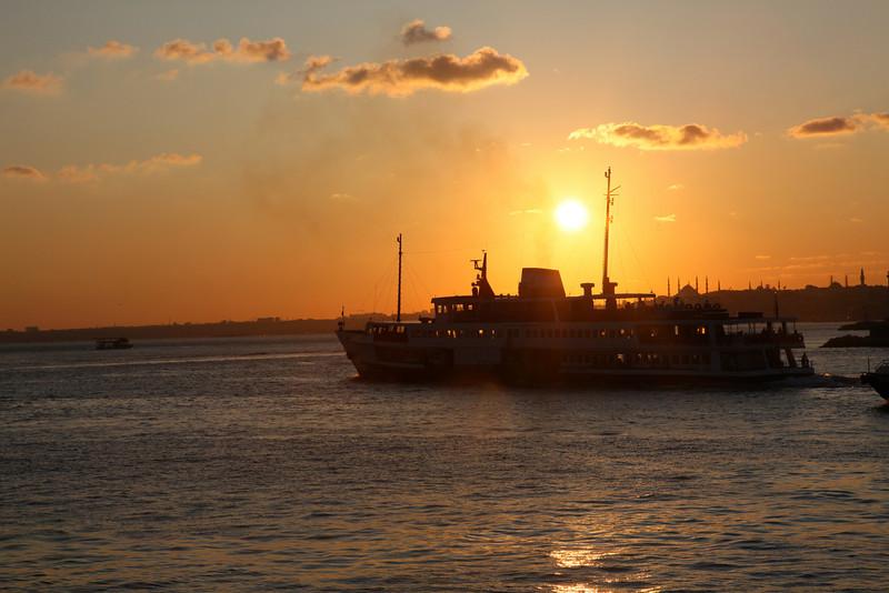 Istanbul, Bosporus, Ferryboat, and the Orange Ball..