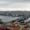 A panoramic view from the top of Galeta Tower, a 200 foot high former shipping monitor and prison, in Beyoglu, looking towards Sultanahmet.