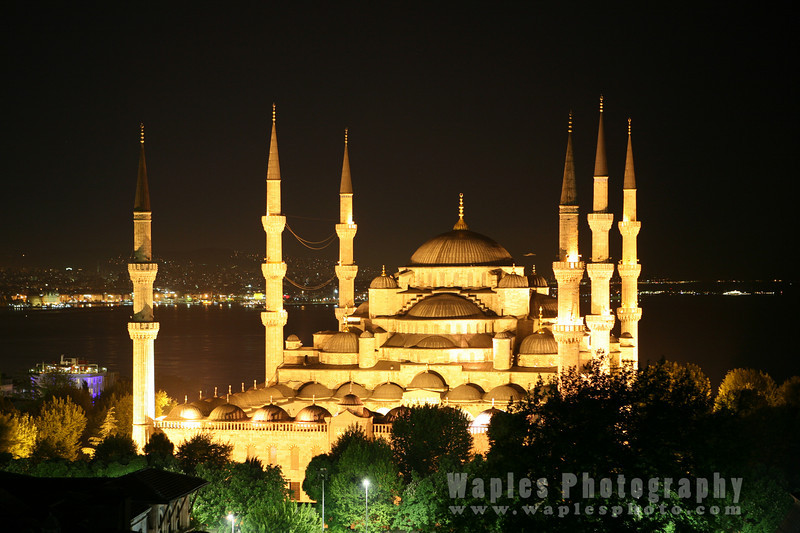 Blue Mosque, at night