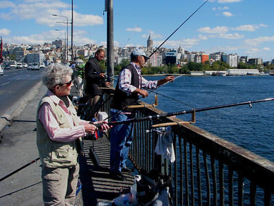 Pat fishing on the Ataturk Bridge