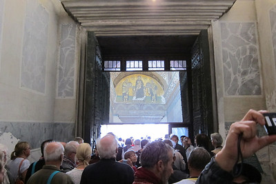 Hagia Sophia. Fresco near the exit is mirrored so people don't miss it.