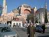 Dick in Sultanahmet Square with Haghia Sophia behind him.  The minerets were added after the Ottoman conquest.