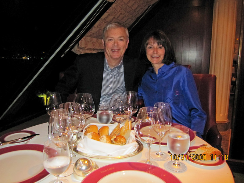 Our first dinner on board the Regatta.  Here, we were in The Polo Grill, one of the 2 specialty restaurants on the ship.  This one specializes in beef, and it was superb.