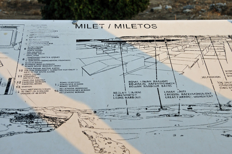 Miletos was one of the most important cities in the ancient Greek world, but eventually declined due to the silting up of its harbors.  It is also renowned as the first city to which the principles of modern town-planning were applied. The gridplan introduced by Hippodamos in Miletos later formed the basis of town-planning in all Roman cities.