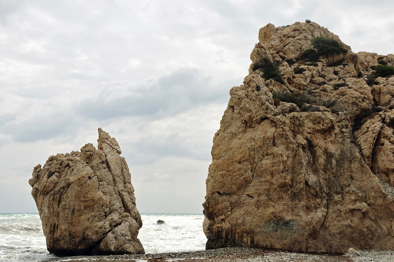 This is Petra tou Rominou, near the town of Pafos.  Legend has it that it is here, in the channel between these 2 rocks, that Aphrodite was born from sea foam and carried by  waves to the beach.