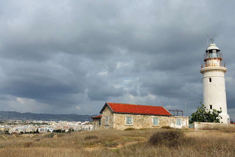 The town of Pafos is in the distance.