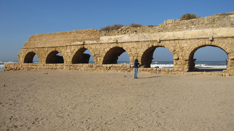On to Caesarea.  This ancient deep sea port was completed by King Herod The Great in 22 BC as a tribute to Roman Emperor Caeser Augustus .  Evidence of Herod's technical ingenuity can be seen throughout Israel, but no where is it more obvious than in Caesarea.  The huge aqueducts (above) still survive, and when the sea is calm and the tide is out, the innovative port structure peeks above the water line.
