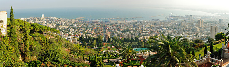 Panorama of the Baha'i Gardens from the top.