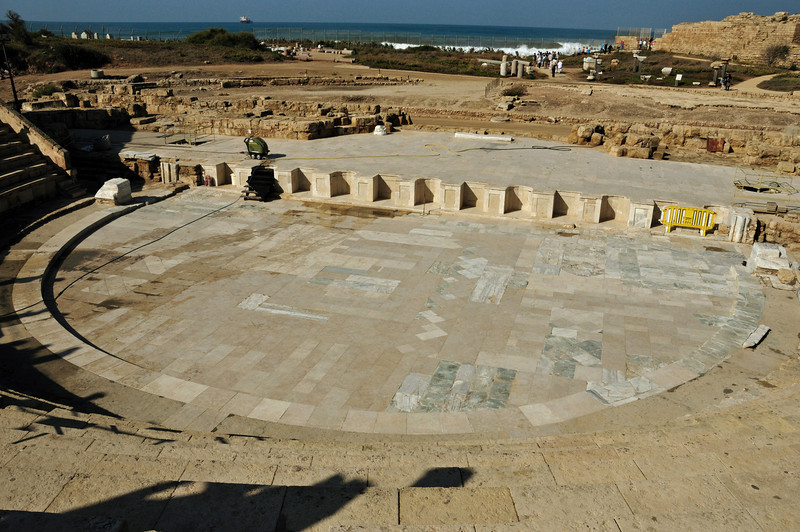 The amphitheater was partially rebuilt and is still in use.