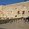 "As at King David's Tomb, access to the Western Wall is segregated by sex.  The ""men's side"" (left) is much larger than the ""women's side""."