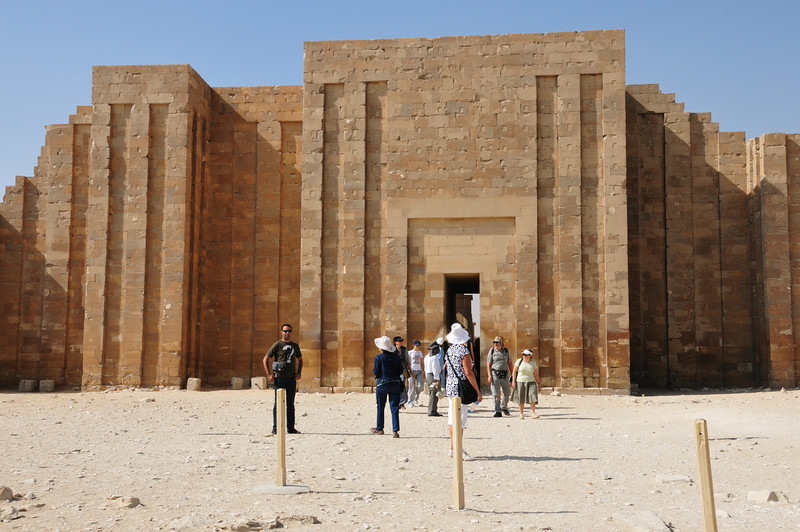 The entrance to the Step Pyramid of Zoser in the town of Sakkara.  The Step Pyramid was built over 5000 years ago and is the oldest known Egyptian pyramid.