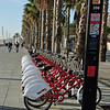 We'd seen these bikes all over the city.  Barcelona has devised a great system.... for a monthly fee, you get unlimited access to them.  The parking spots are conveniently located throughout the city, so you pick up your bike at Point A, get to where you're going, then park the bike at Point B.