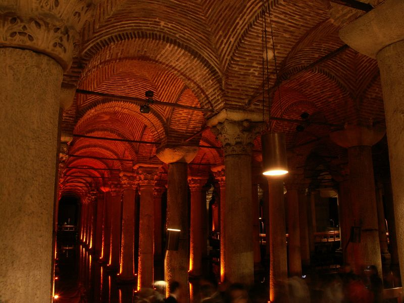 The basilica cistern.  One of many underground water storage structures built by the Romans.