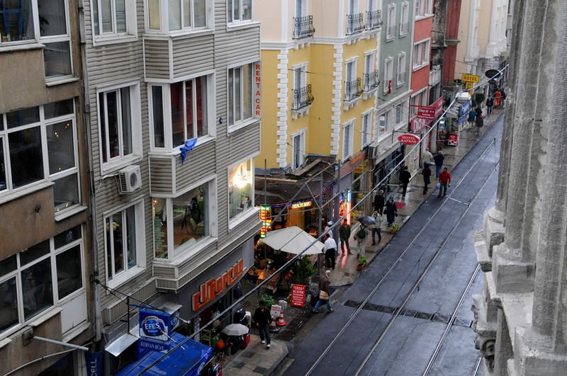 View of street from our hotel room.