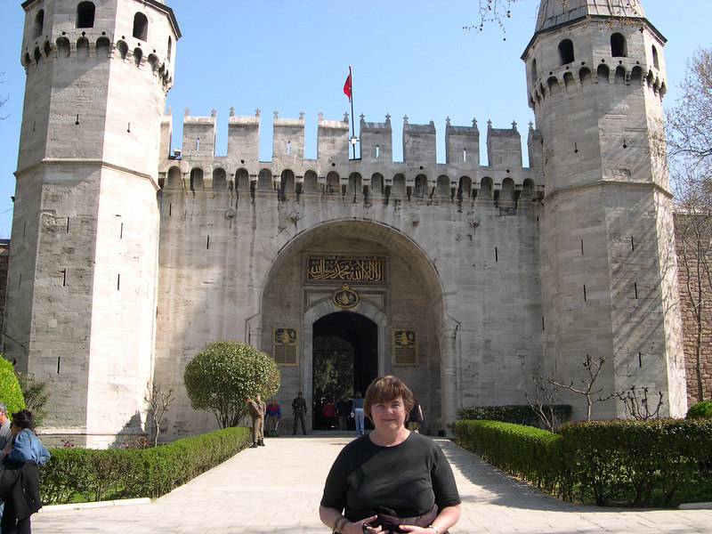 Susan in front of the entrance to Topkapi Palace, residence of the Ottoman sultans.