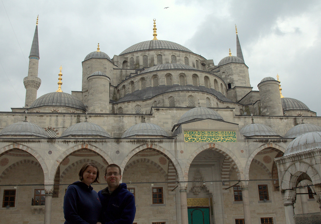 Ted and Tamara in the outer courtyard of the mosque.