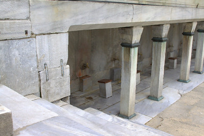 Ablution stations outside the blue mosque. These are actively used.