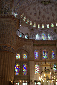Stained glass and nave dome.