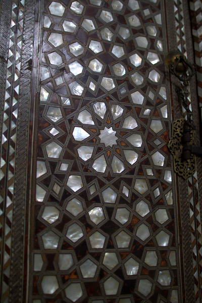 Intricate inlays on the door.