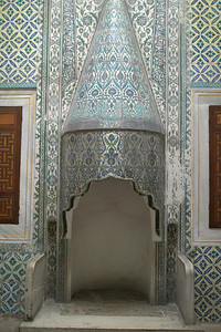 Fireplace with tile.