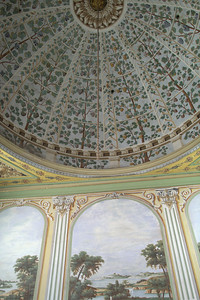 Painted murals with faux columns and painted dome ceiling.