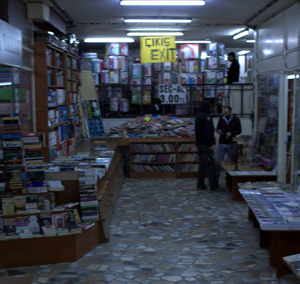 Winding through a book market. (blurry)