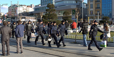 Squad of riot police at Taksim Square.