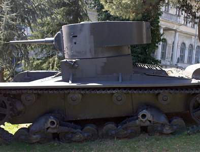 Old tank. I think it was a Soviet tank from the 1930s.