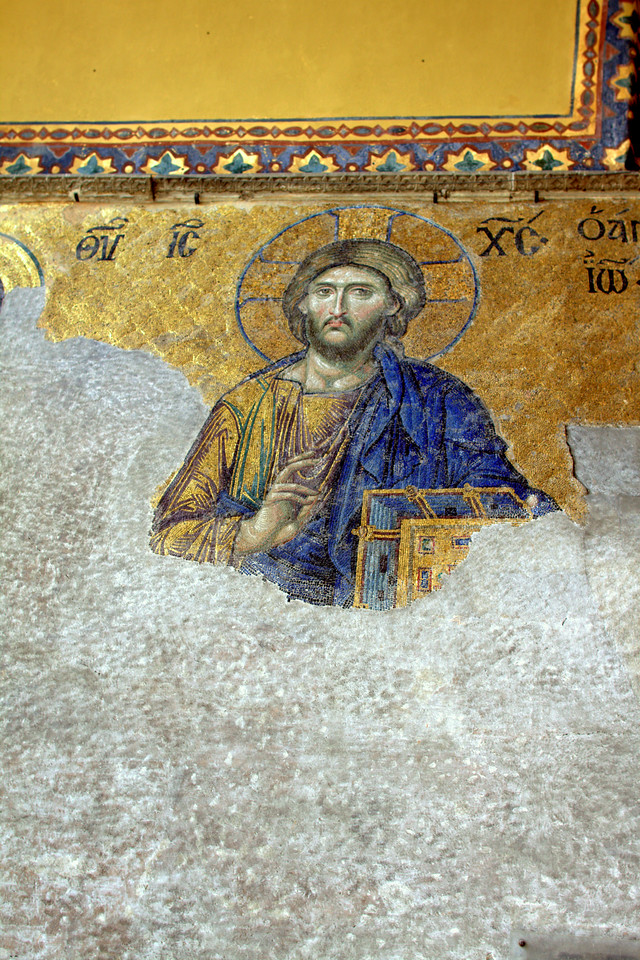 Part of the heavily damaged Deësis mosaic, from 1260 or so.