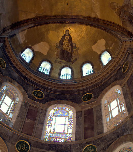 Mosaic of Mary and Child above the apse. From the 9th century.