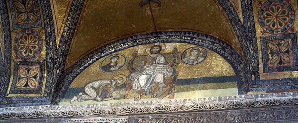 Mosaic of Christ with Emperor Leo VI above the Imperial Gate; was covered over and lost until 1933.