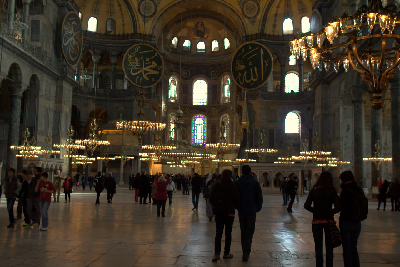 Tourists in the main nave.
