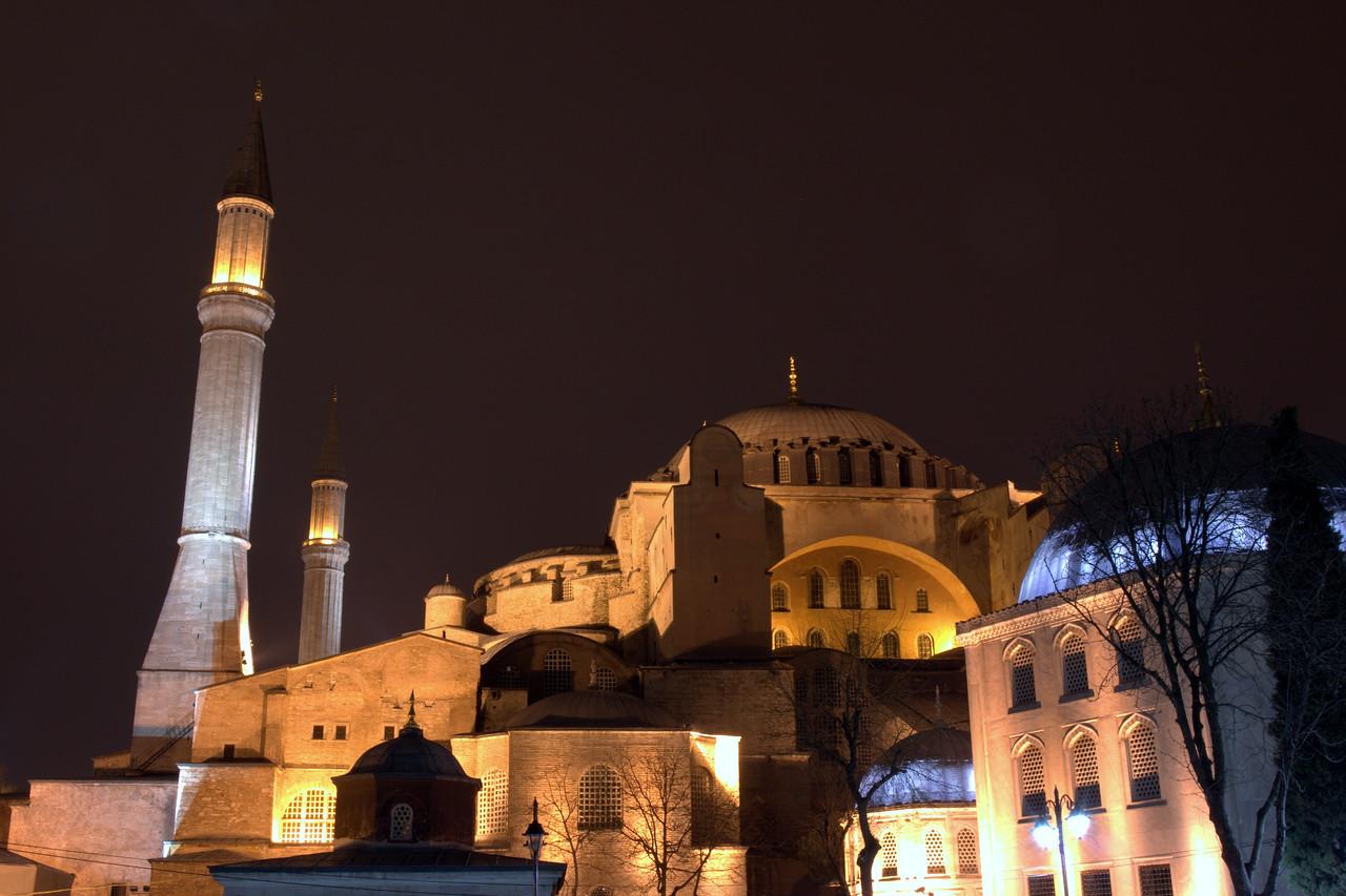 Hagia Sophia at night.
