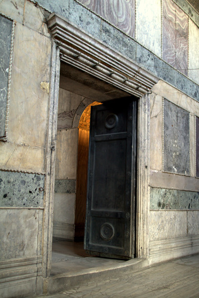 Main entrance to the Hagia. Note the wear on the doorway sill.